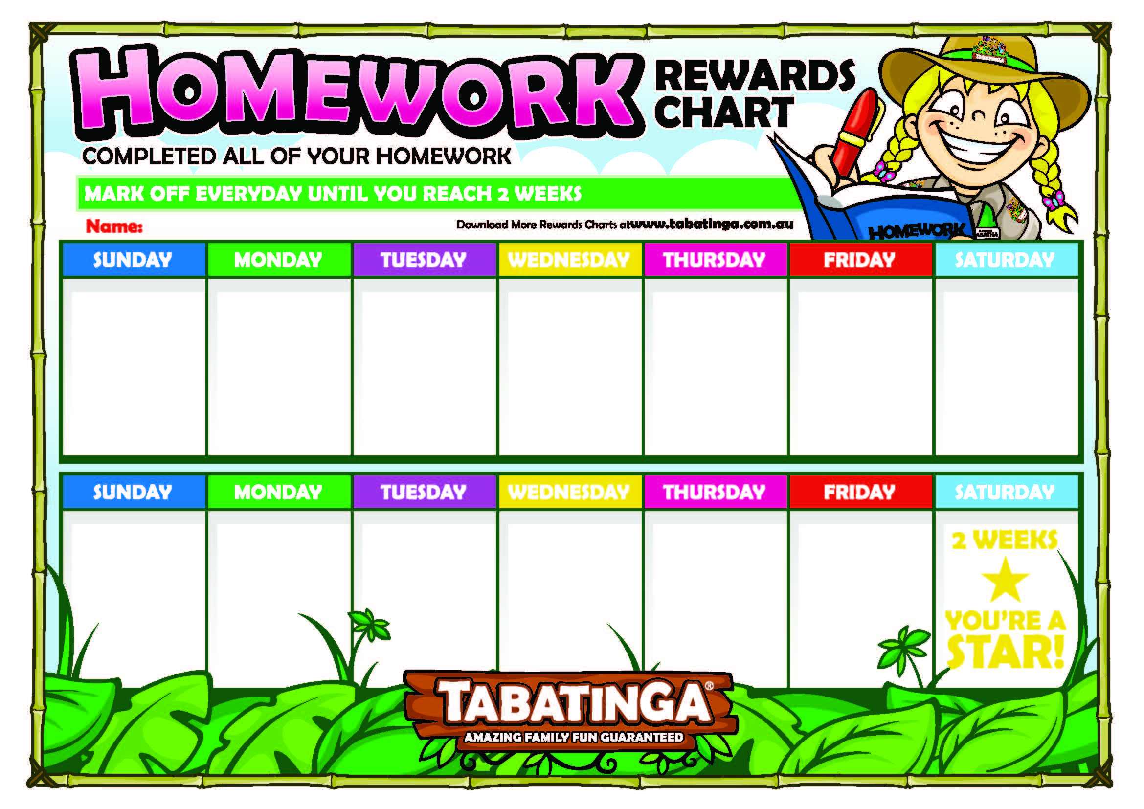 Reward Charts Tabatinga Play Centres – Free Reward Charts to Download