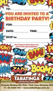 party invite super hero kempsey