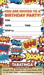 party invite super hero seagulls